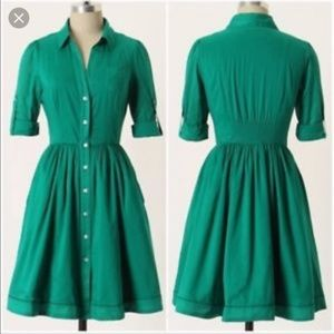 Anthro Moulinette Seours Reed Midi Green Dress